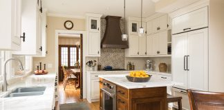 InUnison Design ASID Kitchen white cabinets and island