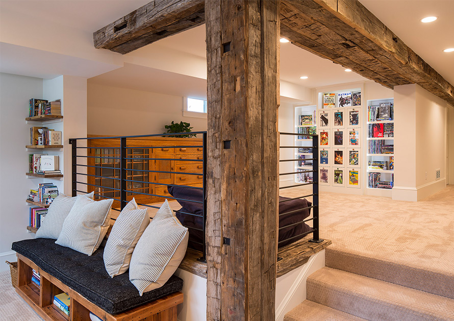 Mark D Williams Living Room with Exposed wood beams
