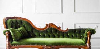 A green velvet sofa.
