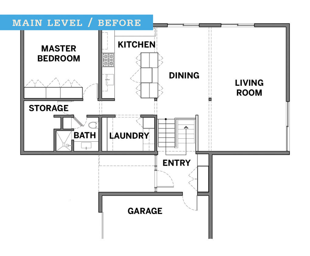The blueprints of a floor plan before a remodel.