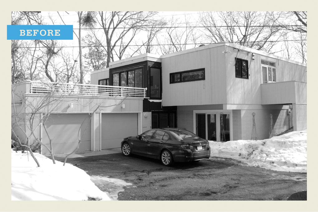 """A black and white """"before"""" photo of a modern two-story home with a car in the driveway."""