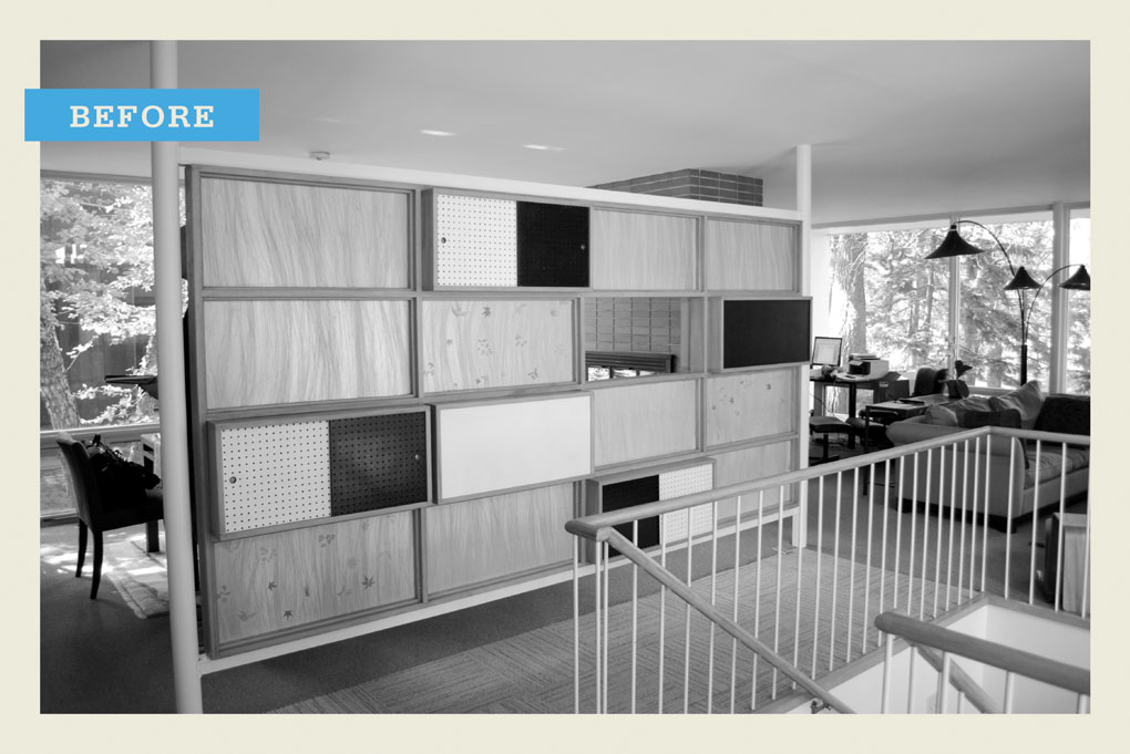 """A black-and-white """"before"""" photo of an outdated wall of cabinets."""