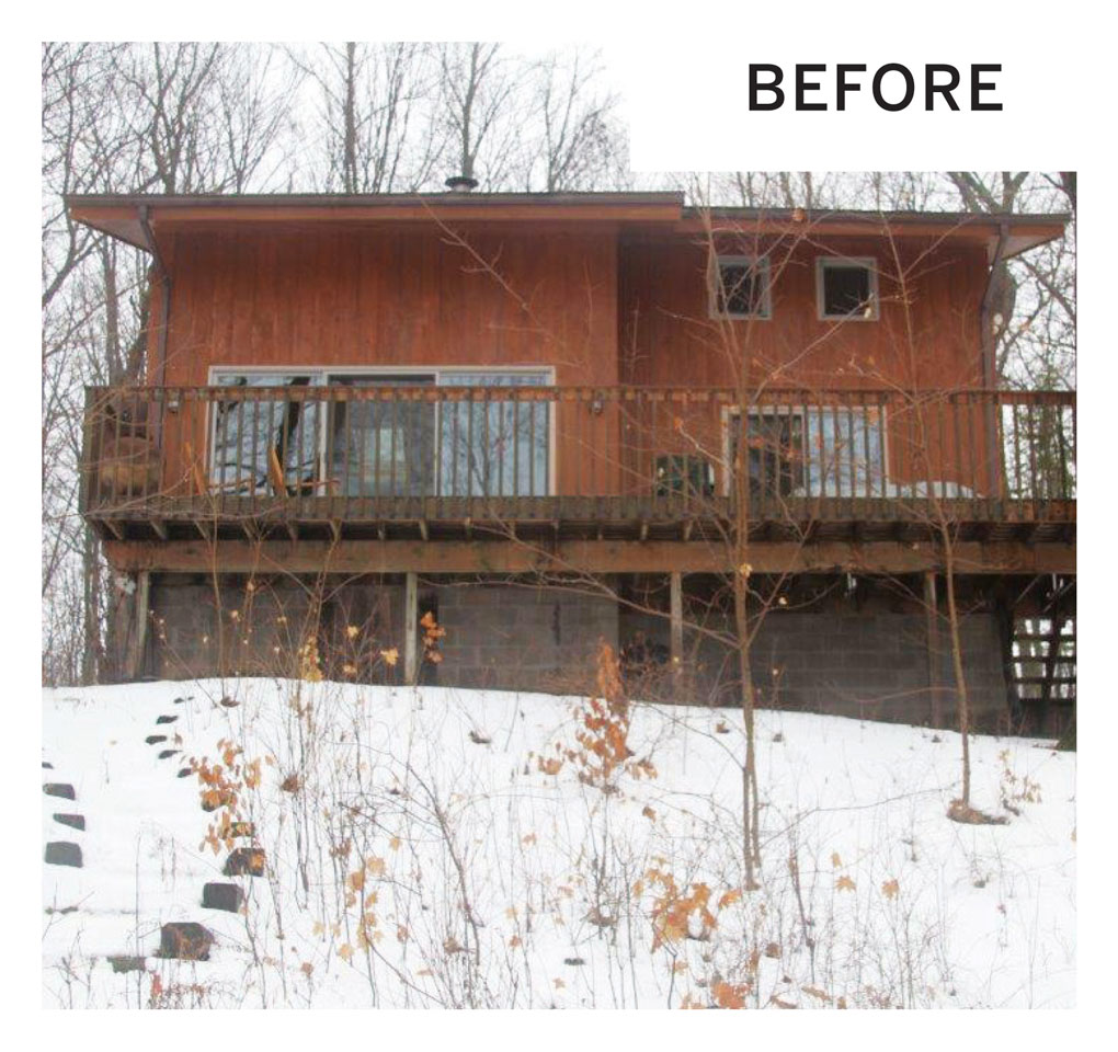 """A """"before"""" photo of a remodeled cabin's exterior in Luck, Wisconsin."""