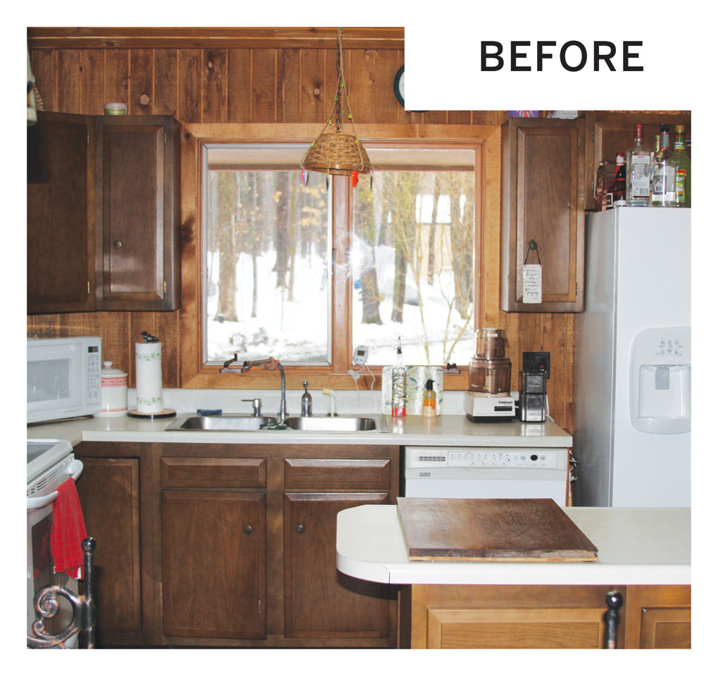 """A """"before"""" photo of an outdated kitchen in a cabin in Luck, Wisconsin."""