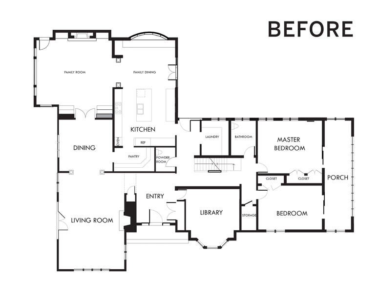 "A ""before"" photo of a floorplan."