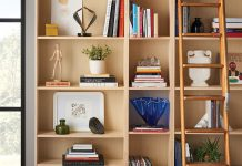 A home library stocked with books, artwork and a ladder resting on the shelves.