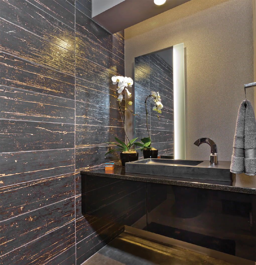 Powder room with modern walls and black counter space