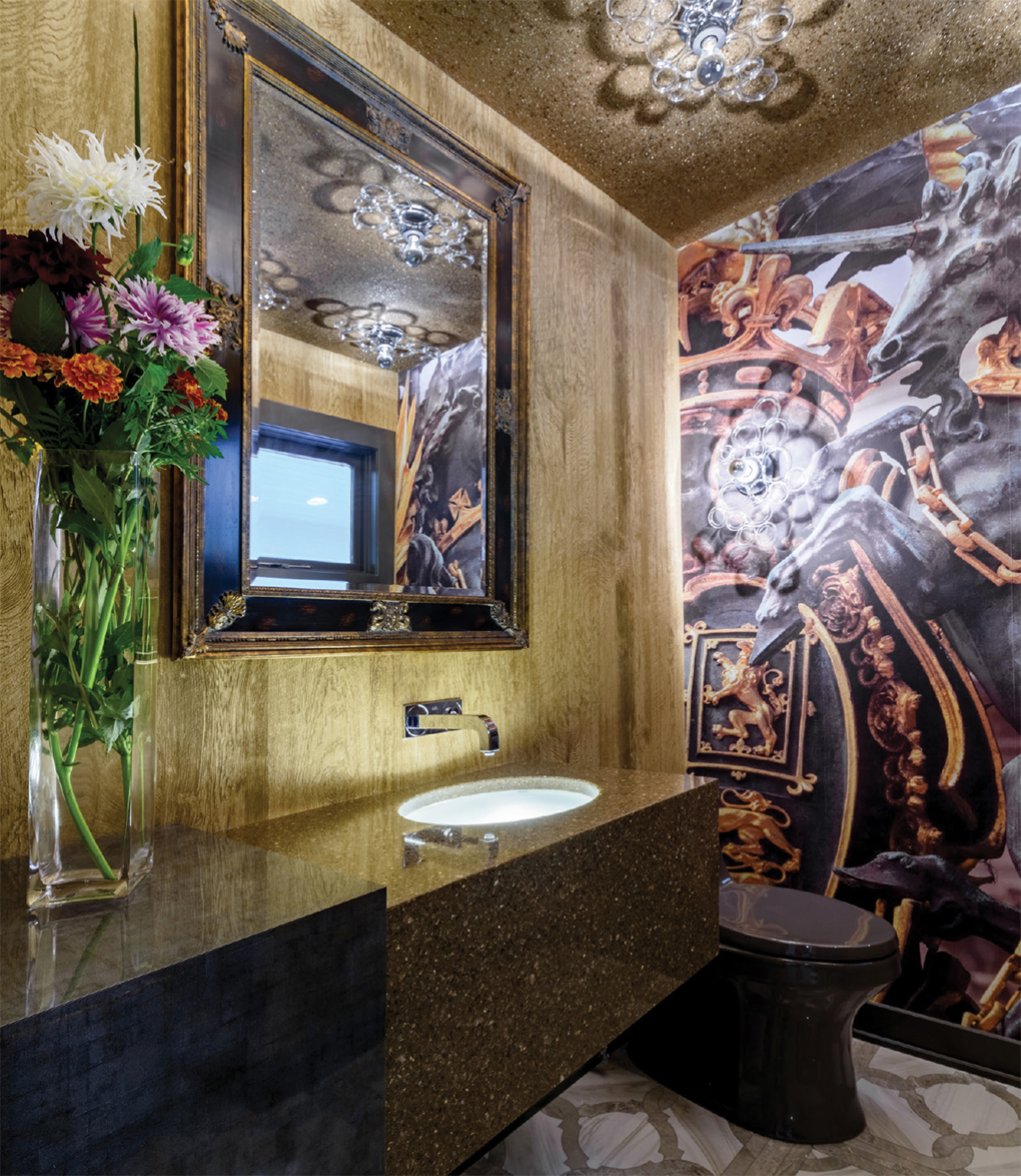 Powder room with wood walls, Chinoiserie art mural and black toilet