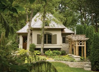 Garden with white house