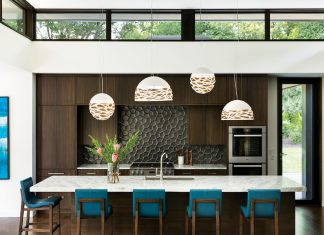 kitchen with blue chairs