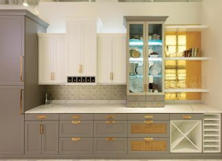 dark cabinets and white cabinets