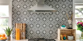 New boho: clean and bright, with distinctive Moroccan tile on display in a kitchen.