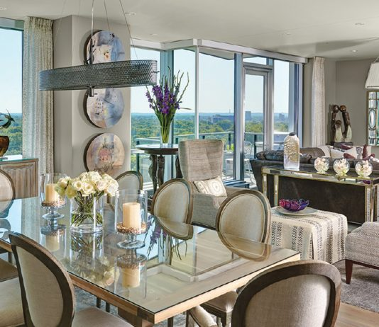 living room with dining room table and chairs