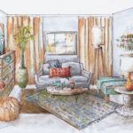 An illustration of a living room decorated with seating, rug, book shelf, and plants.