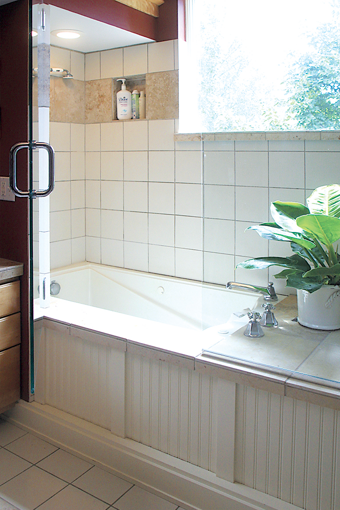 The bath and shower before a remodel in Rocky and Gigi DiGiacomo's home.
