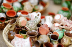 Mini hand-made pots in a bowl