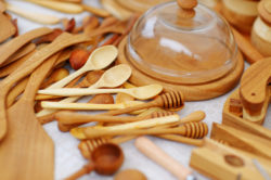 Wooden spoons, platters, and wood work.