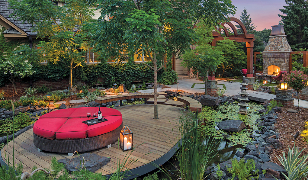 A front-yard pond and platform began the transformation of this Eden Prairie landscape 15 years ago.