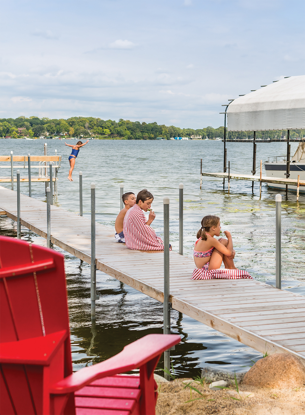 Lake Minnetonka is what it's all about for (left to right) Melissa, Griffin Zosel, 10, Alex Remick, 13, and Sloane.