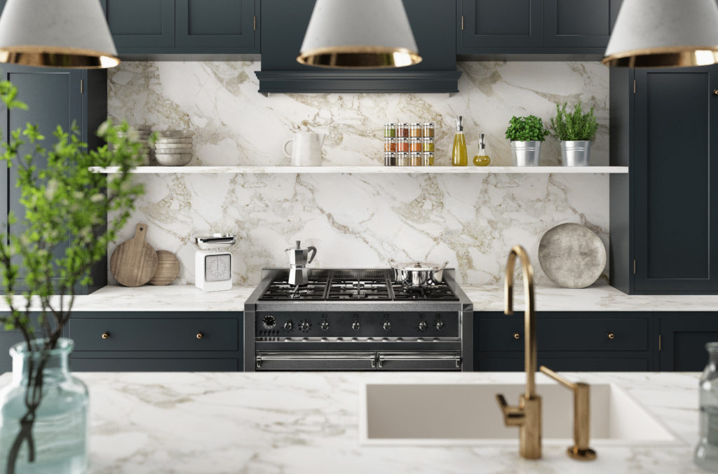 White, marble kitchen. Clean and modern.