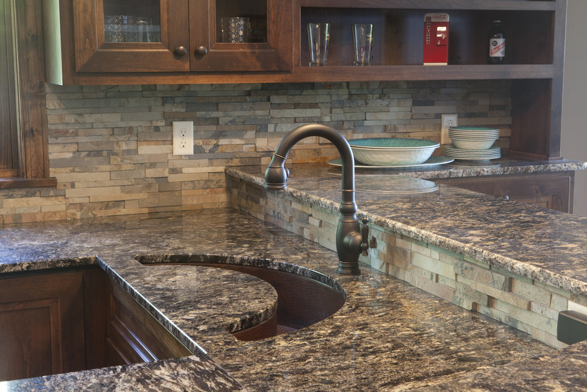 countertop with contemporary shaped sink
