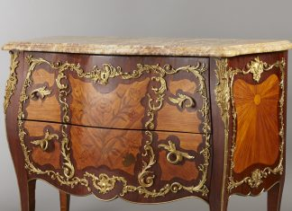 Courtesy Revere Auctions. A 19th-century Louis XV Bombe Chest is just one of the lots at Revere Auction's June 23rd sale.