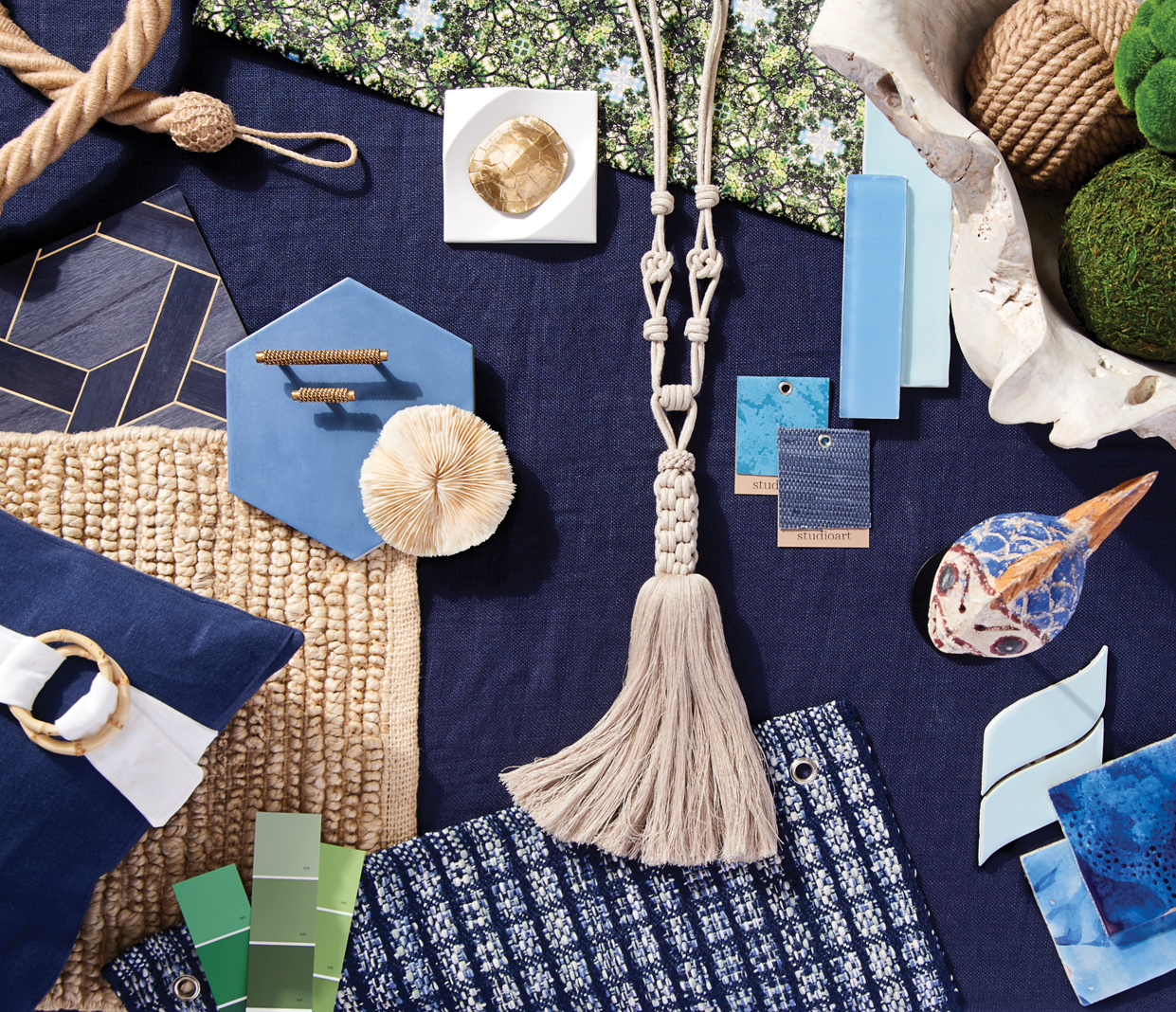 Rope textures, swirling blues, and sea glass are just some of the nautical decor touches you can add to your lake home this year.
